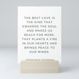 The best love, Nicholas Sparks, Romantic Mini Art Print