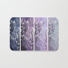 Vincent Van Gogh : Almond Blossoms Panel Art Dark Blue Purple Lavender Bath Mat