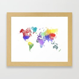 Colorful world map Framed Art Print
