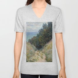 1882-Claude Monet-Road at La Cavée, Pourville-60 x 81 Unisex V-Neck