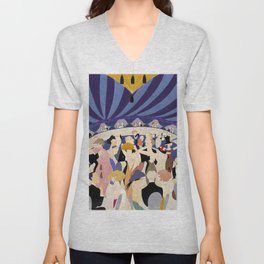 Dancing couples in jazz age nightclub Unisex V-Neck