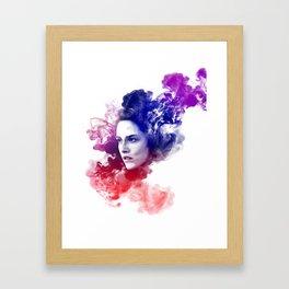 Kristen Stewart Splash Watercolor Portrait Framed Art Print