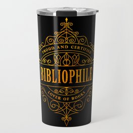 Gold Bibliophile on Black Travel Mug