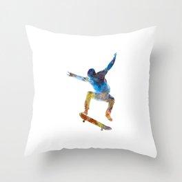 Man skateboard 01 in watercolor Throw Pillow