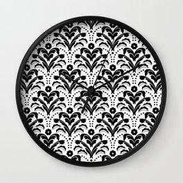 Retro Deco Damask Black and White Wall Clock