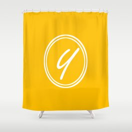 Monogram - Letter Y on Amber Orange Background Shower Curtain