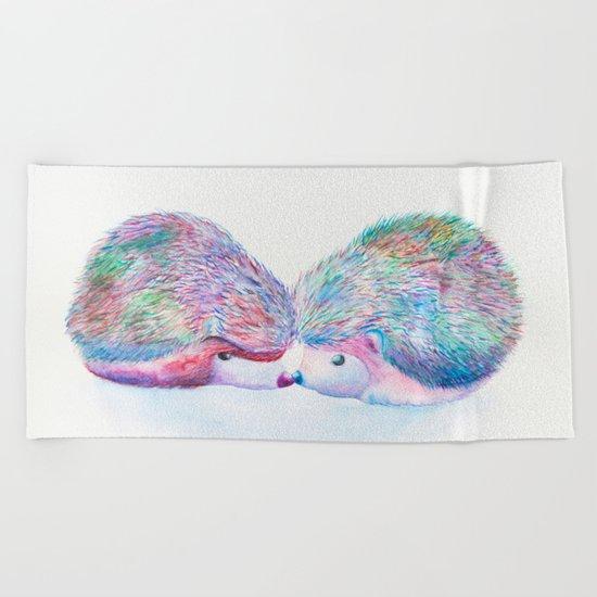 Watercolour Hedgehogs Beach Towel