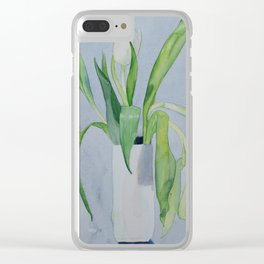 White vase of white tulips Clear iPhone Case