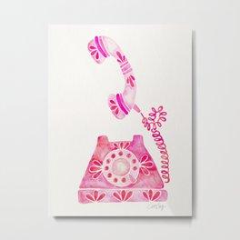 Vintage Rotary Phone – Pink Palette Metal Print