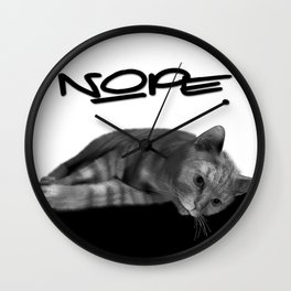 Lazy Cat Nope Typography Funny Humorous Wall Clock