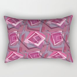 Unravelled Pink and Grey Rectangular Pillow
