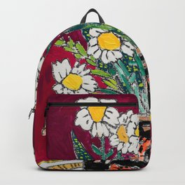 Daisy Bouquet in Tiger Vase on Deep Burgundy Wine Red Still Life Floral Painting Backpack