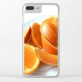 Orange Quarters Clear iPhone Case