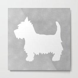 Westie Silhouette On Grey Metal Print