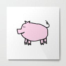 Cute Pale Pink Pig Metal Print