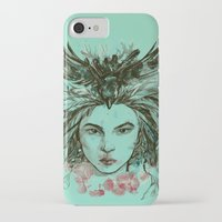 viria iPhone & iPod Cases featuring Crow queen by viria