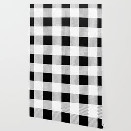 western country french farmhouse black and white plaid tartan gingham print Wallpaper