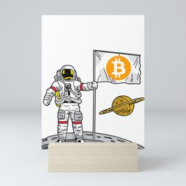 BITCOIN ASTRONAUT Crypto Currency To The Moon Gift Mini Art Print