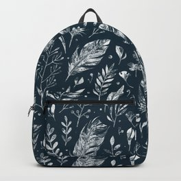 Feathers And Leaves Abstract Pattern Black And White Backpack