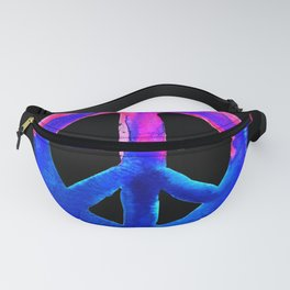 Pink Blue Watercolor Tie Dye Peace Sign Fanny Pack