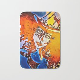 Vixen: orange/blue Bath Mat