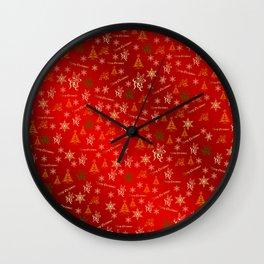 red Merry christmas text in gold, beautiful reindeer, green fir trees, bright stars festive, elegant Wall Clock