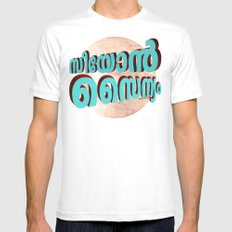 Seeyon Sainyam (Zion Army) - (3D - Blue & Burgundy) White MEDIUM Mens Fitted Tee