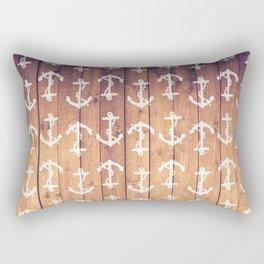 Vintage White Nautical Anchors Pattern Brown Wood Rectangular Pillow