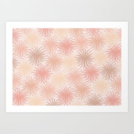 Anemone Pattern in Millennial Pink Tones with Canvas Texture Art Print