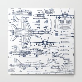 F-18 Blueprints // Blue Ink Metal Print