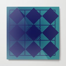 Blue,Diamond Shapes,Square Metal Print