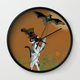 Cat Walking His Bat Wall Clock