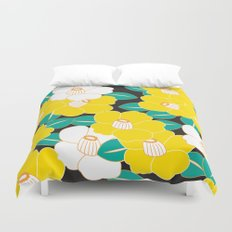 Japanese Style Camellia - Yellow and Black Duvet Cover