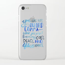 My Beloved Oxford Comma - Blue Lettering Clear iPhone Case