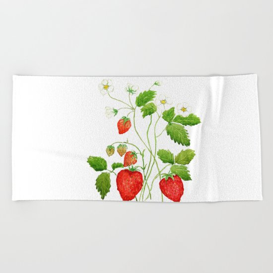 strawberry and strawberry flowers watercolor painting Beach Towel