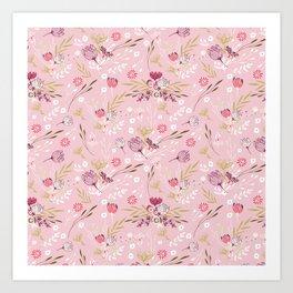 Vintage chic rose pink white red boho floral pattern Art Print