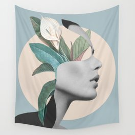 Floral Portrait /collage Wall Tapestry