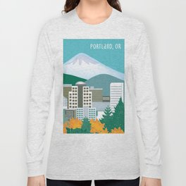 Portland, Oregon - Skyline Illustration by Loose Petals Long Sleeve T-shirt