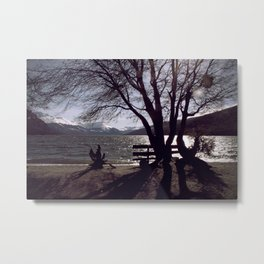 Bench and Lake Metal Print