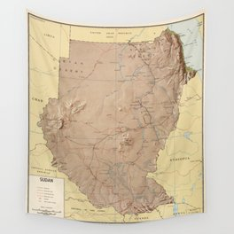 Map of Sudan (1963) Wall Tapestry