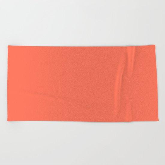 Simply Deep Coral Beach Towel