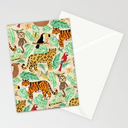 Wild And Wonderful Jungle Friends - Light Beige Background Stationery Cards