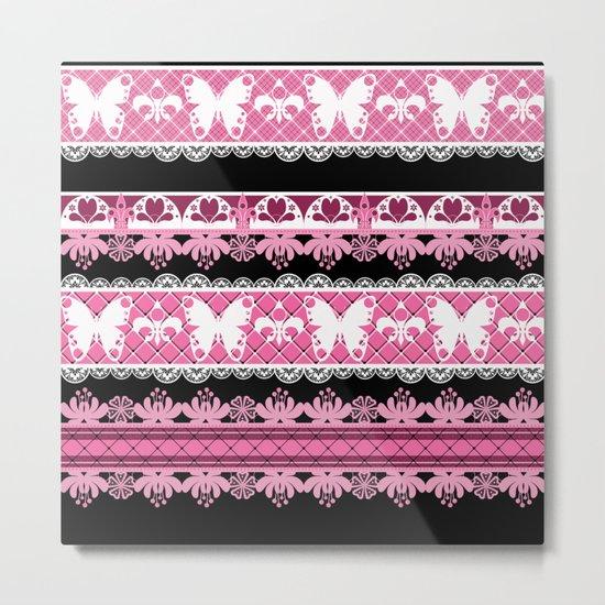 Black and pink striped pattern . Metal Print