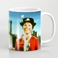 mary poppins Mugs featuring PENNYWISE IN MARY POPPINS by Luigi Tarini