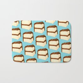 Chocolate Cake Slice Pattern - Blue Bath Mat