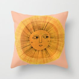 Sun Drawing Gold and Pink Throw Pillow