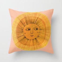 Sun Drawing Gold and Pink Throw Pillow