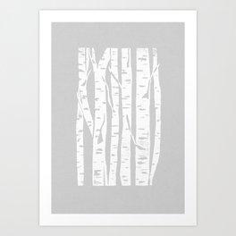 Woodcut Birches Grey Art Print
