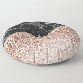 Warm chromatic - rose gold and black marble Floor Pillow