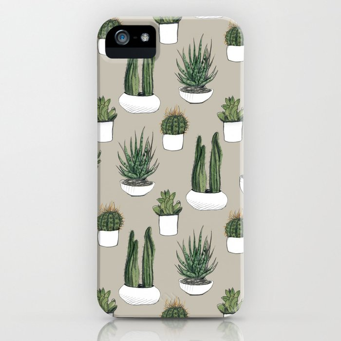 watercolour cacti & succulents - beige iphone case